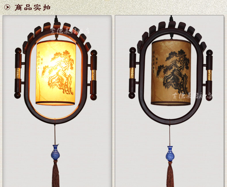 Chinese style wooden skin droplight Retro classic porch ceramics creative personality corridor corridor lamps and lanterns(China (Mainland))