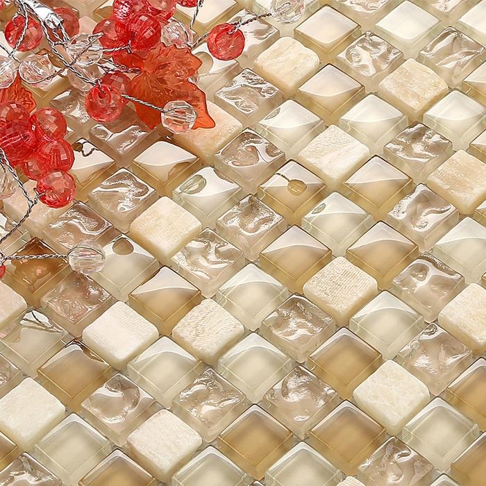 Beige glass tile backsplash