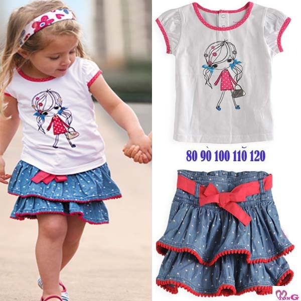 2012 Summer new, children girl's fashionable casual cake denim skirt/dress+cotton t-shirt 2pc set clothes
