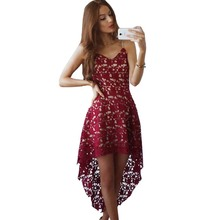 Buy YJSFG HOUSE 2017 Spring Summer Women Clothing Red White Lace Party Dresses Sexy Sleeveless V-neck Hollow Boho Beach Dress for $10.00 in AliExpress store