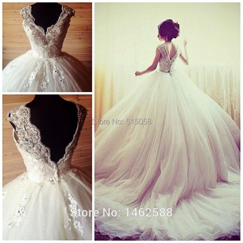 Vintage rhinestone appliques cap sleeves v neck open back for Cap sleeve open back wedding dress