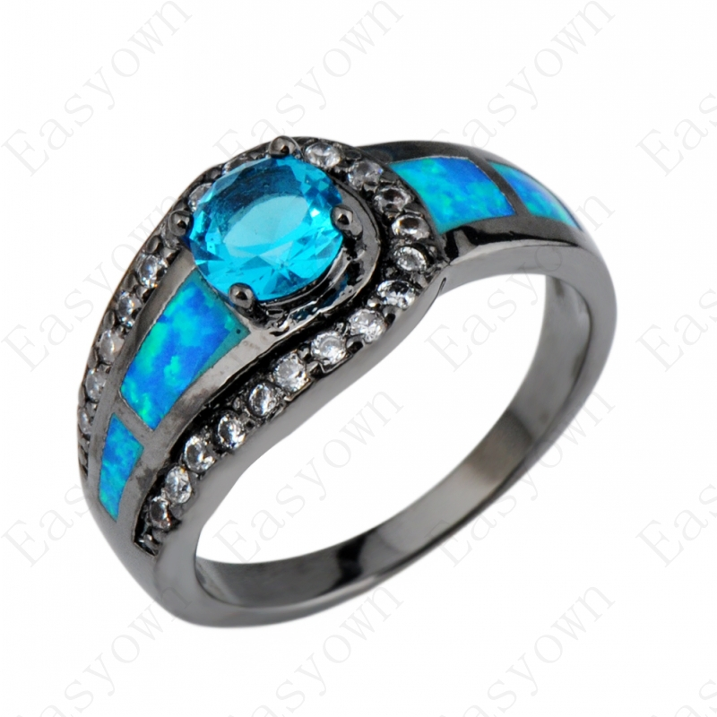 Blue Sapphire Ball Female Opal Ring Black Gold Filled Jewelry Natural Stone W