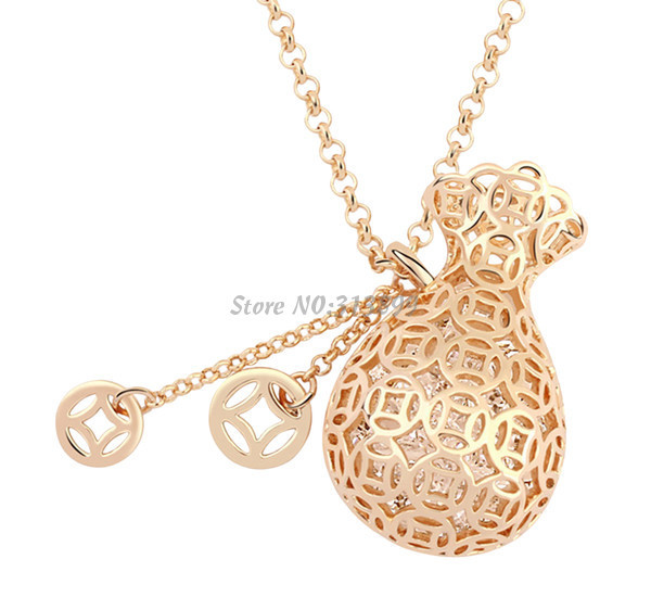 2015 High Quality New Cute Fashion Trendy Austrian Crystal Champagne Color Purse Necklaces Women Pendant Necklace Accessories(China (Mainland))