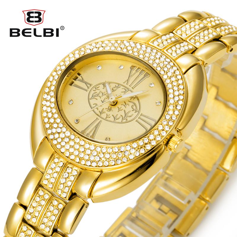 Belbi Women Watch Ladies Oval Alloy Steel Quartz Watches Dress Quartz-Watch Rhinestone Roman Art Gold Luxury Wristwatch Relojes(China (Mainland))