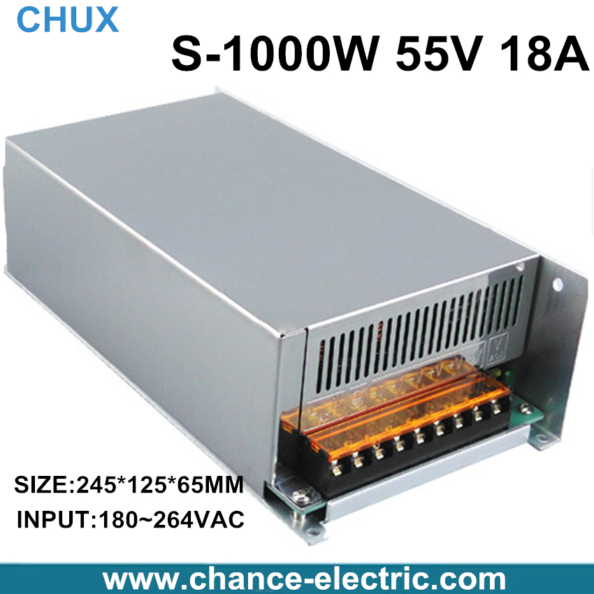 Фотография 1000W 55V adjustable 18A Single Output Switching power supply AC to DC 110V or 220V