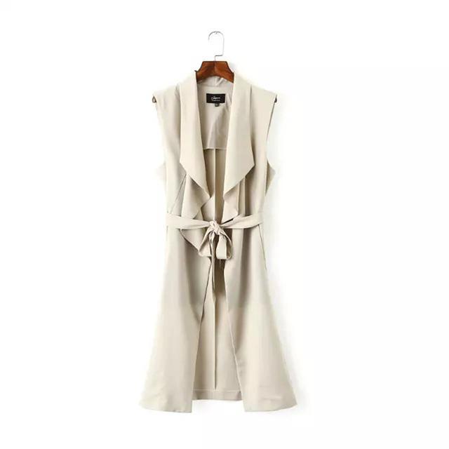 Женская летняя новая личность нагрудные пояс пальто без рукавов жилет пальто