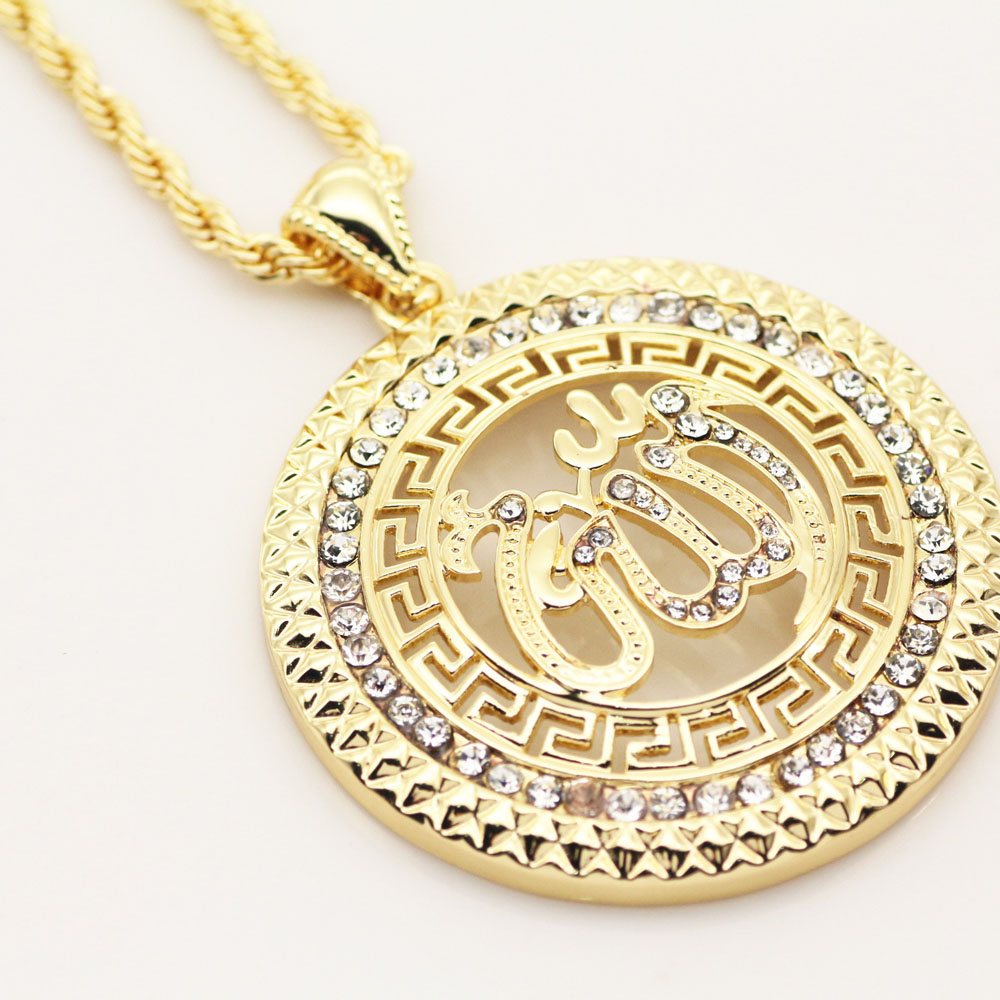 New Fashion Crystal CZ Iced Out Muslim Allah Pendant Necklace Islam Arab Middle East Necklace Jewelry Bling Bling Jewelry(China (Mainland))