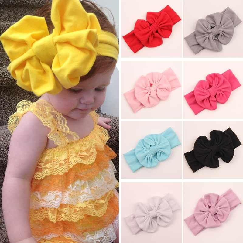 Hot Sell Girls Kids Baby Big Bow Hairband Headband Stretch Turban Knot Head Wrap(China (Mainland))