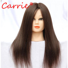 Hot Sale Training Mannequin Head With Hair 18 Inch Natural Brown Cosmetology Hairdressing Doll Manikin Heads Hairstyles