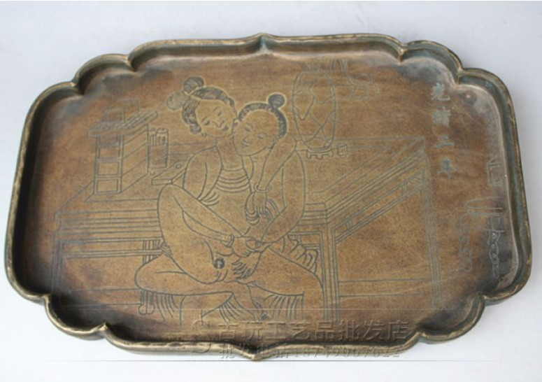 Chinese collections of ancient hand-carved Guangxu 2 years pattern copper tray free shipping(China (Mainland))