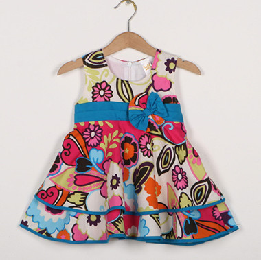 6pcs/lot baby &amp; kids girl fashion summer flower print tropical princess party dresses children european style bow sun dress<br><br>Aliexpress