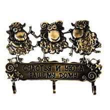 Free shipping hook, trendy three sheep pattern cute souvenir wall hook house decor. key hook brings good luck & wealth to people(China (Mainland))