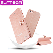 "ELFTEAR Flip Silk Leather Stand Case Cover for iphone 7 7 plus 4.7"" 5.5'' Butterfly Built-in Card Slot Mobile Phone Case(China (Mainland))"