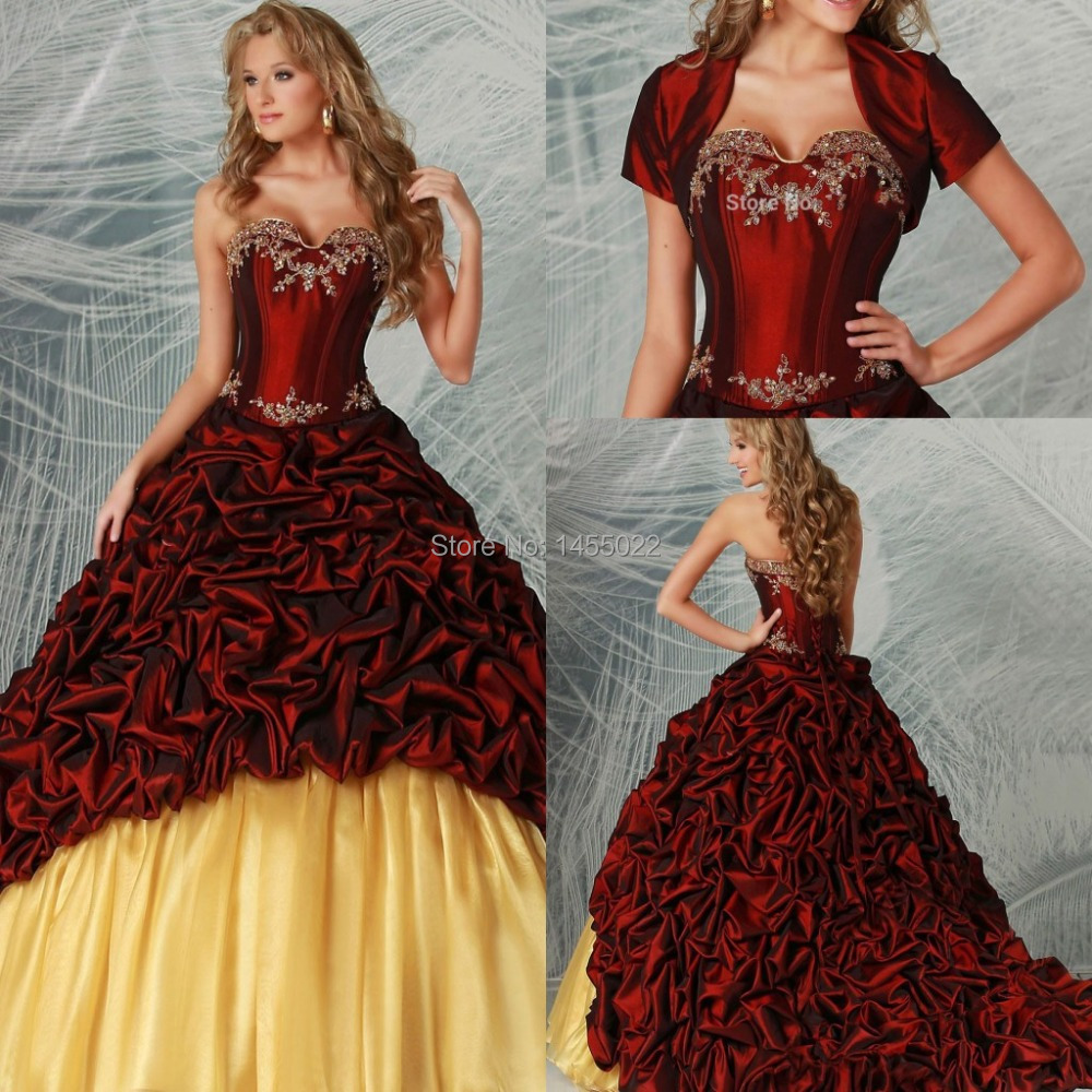 2014 New Arrival Burgundy With Jacket Ruffles Beaded Quinceanera Dresses Victorian Masquerade Ball Gowns Vestidos de 15 Anos(China (Mainland))