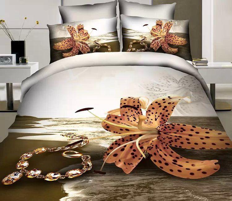 Здесь можно купить  3D Beach floral designer 100% cotton bedding set sets for queen size duvet cover bedspread bed in a bag sheets quilt linen pearl  Дом и Сад