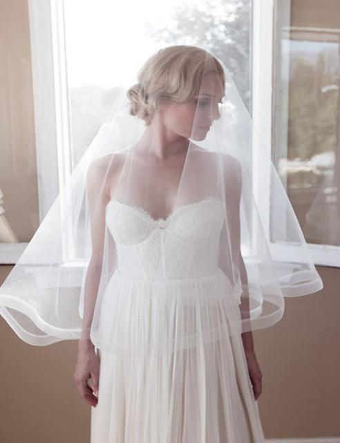 Новый Год Дешевые 2016 Свадьба Тюль Вуаль Белый Мода Свадебная Фата Один Слой 669-ZHB