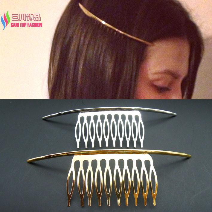 2015 hot fashion punk gold /silver simplicity metal ARC stick hair comb hair jewelry accessories for women peine del pelo mujer(China (Mainland))