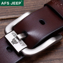 AFS JEEP Men's leather belt youth outdoor leisure needle buckle leather designer belts men high quality