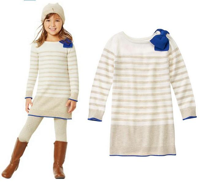 New arrival Girls Striped sweater dress baby Shoulder big bowknot wool dress wholesale<br><br>Aliexpress