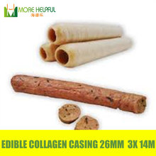 No.1 selling Edible halal sausage casing 3pcs/Lot total 42 meters Diameter 26mm Collagen casing commerical use free shipping(China (Mainland))