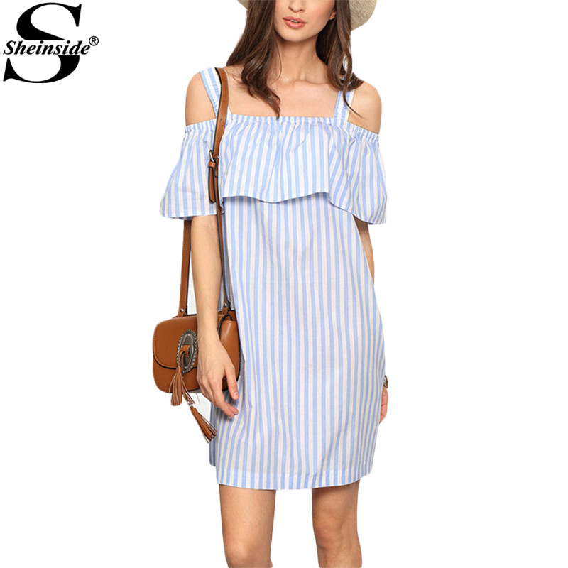 Sheinside New Summer Ladies Striped Cold Shoulder Ruffle Shift Dresses Cute New Women Half Sleeve Straight Mini Dress(China (Mainland))