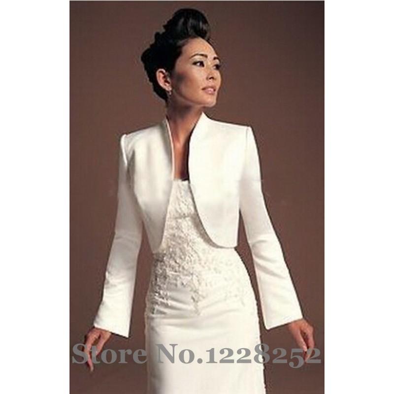Winter Autumn Bolero Jacket Wedding Satin White Shawl for Bridal Gown Long Sleeves Bridal Boleros Cape Wedding Wraps Custom 2017