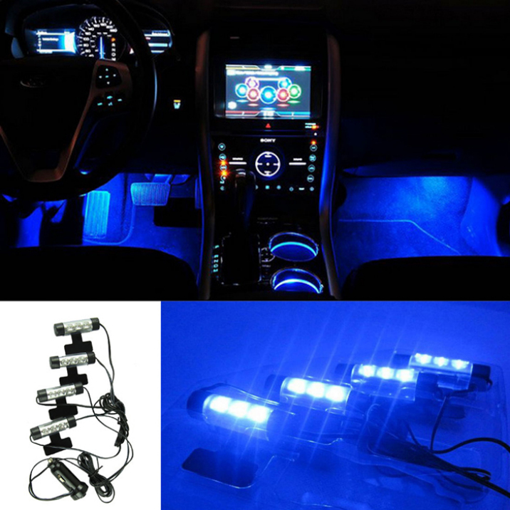 Best Deal 4x 3LED Car Charge 12V Glow Interior Decorative 4in1 Atmosphere Blue Light Lamp 1pcs