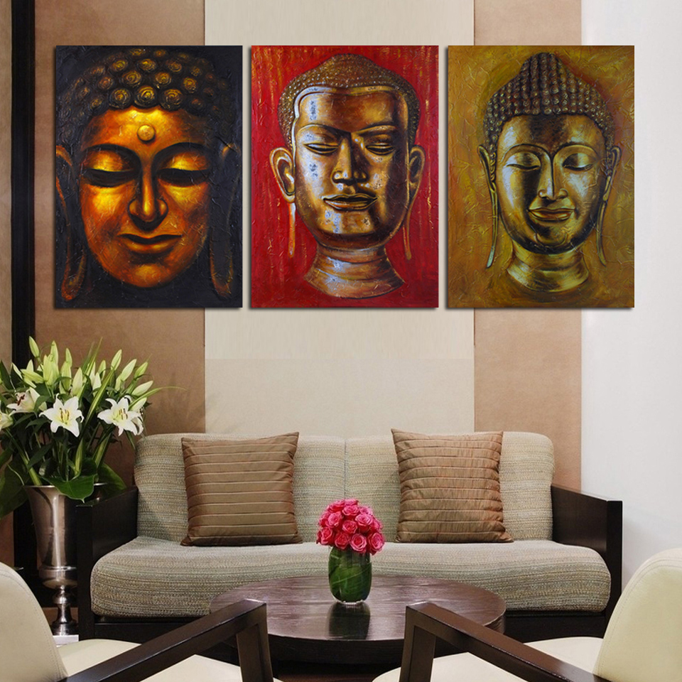 Luxry 3 panel wall art religion buddha oil style painting for 3 panel painting