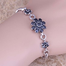 Very Good Black Sapphire 925 Sterling Silver Overlay Link Chain Flower Bracelet 18cm - 20cm Free Shipping & Gift Bag S0649(China (Mainland))