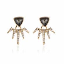 SMJEL nouveau 2018 cristal lune étoile boucles d'oreilles pour les femmes bijoux de mariage géométrique Triangle chaîne oreille vestes Pendientes EJ060(China)