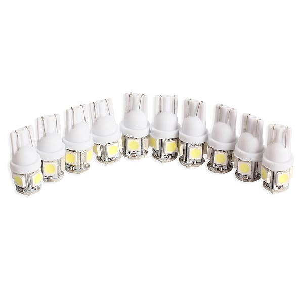 10PCS T10 5050 5SMD LED White Light Car Side Wedge Tail Light Lamp Bright High Quality