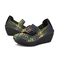 2016 Women casual shoes Fashion Handmade summer shoes for Women Swing Wedges Shoes Height Increasing Breathable #B001