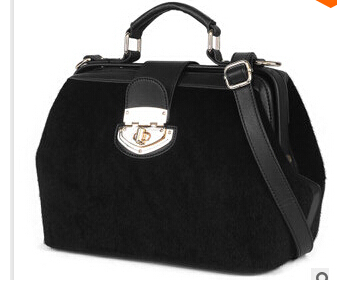 European and American design a new female bag shoulder bag checked wind inclined shoulder bag Women's handbag Put mink fur bag(China (Mainland))