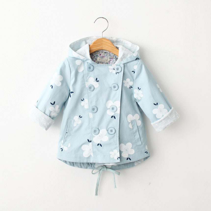 New 2015 autumn children's clothing girls child double breasted print with a hood medium-long trench kids outerwear baby coats(China (Mainland))