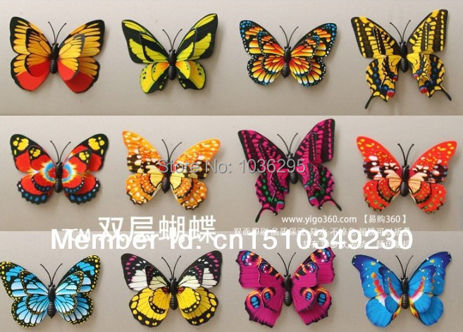 hot 2Christmas 3D Butterfly realistic Double Wing Artificial beautiful Wedding Decorations Home party Decoration - United States Good Service Best Price store