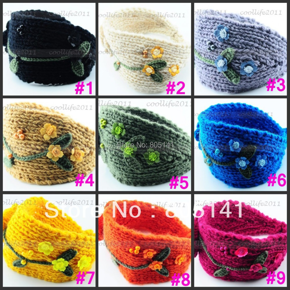 10 pcs Free shipping U can mix colors /Lot Flower Knit Crochet Beads Leaves Headband women Lady Headwrap Hairband(China (Mainland))