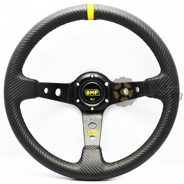 350mm Carbon Fiber Look PVC OMP Steering Wheels Deep Dish Racing Drifting OMP Real Leather Steering Wheel(China (Mainland))