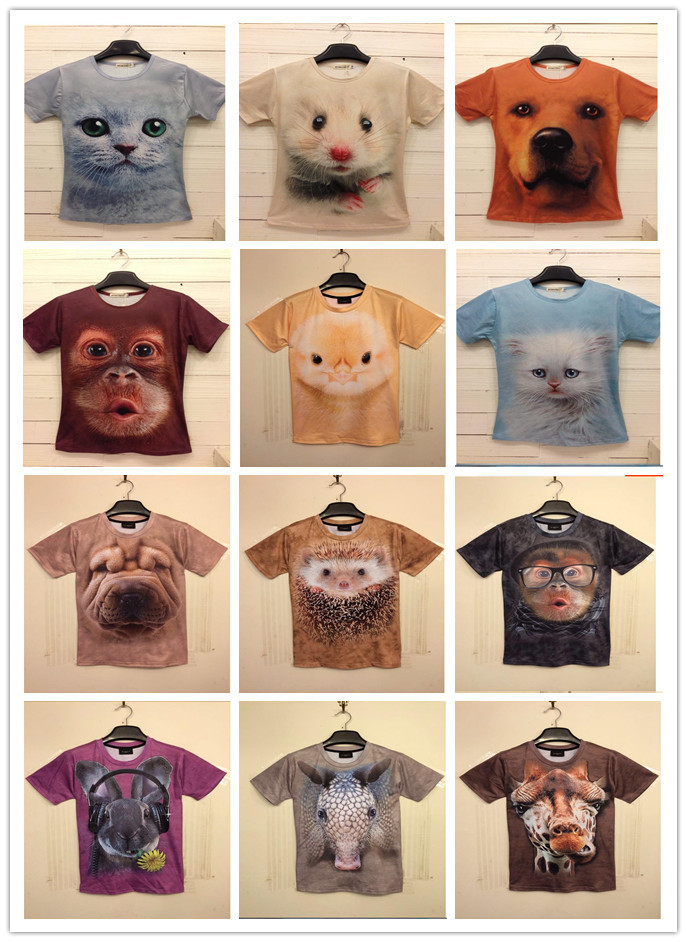 spring and summer men and women T-shirts 3D animal tiger / cat / monkey / wolf brand T-shirt printing large size T-shirt men(China (Mainland))