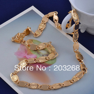 FREE SHIPPING Wholesale Popular Chunky Men's Flawless 14K Real Gold filled Necklace Link Chain Jewelry wedding gift JB315A