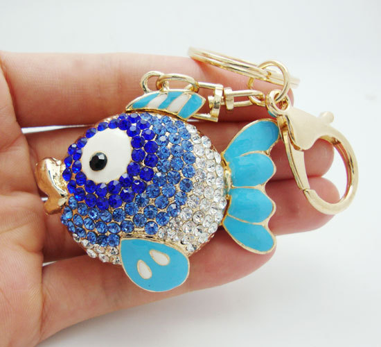 Fashion Charm Blue Tatu Fish Key Ring Blue Crystal Rhinestones Men Decorated Purse Keychain(China (Mainland))