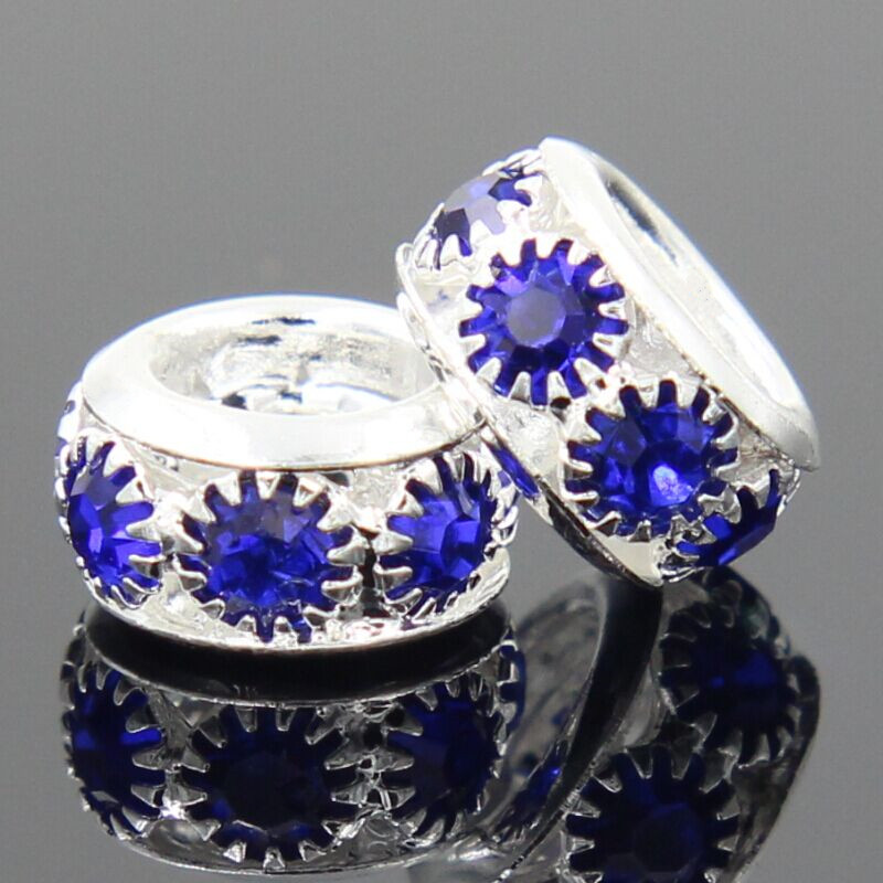 NEW Free Shipping 1Pc Jewelry Silver Bead Charm European Alloy Bead 7 Color Crystal Fit Pandora Bracelet(China (Mainland))