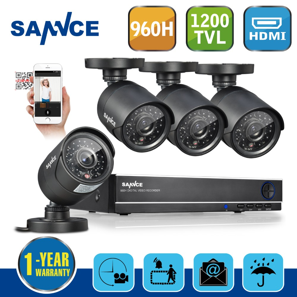 SANNCE 8CH 960H HD DVR 4pcs 900TVL IR outdoor CCTV Home Security System Cameras Surveillance Video kits with motion detection(China (Mainland))