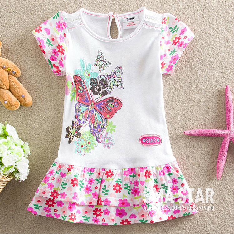 2 Color Lots Cotton Children Costumes Floral Toddlers Summer Girls Dresses Beautiful Baby Girl Clothing Designer Brand SMAL66033(China (Mainland))