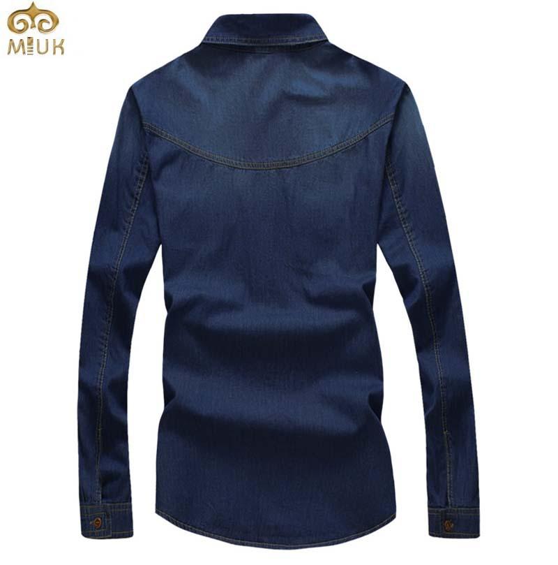 Plus Size Men Denim Shirts 5XL Cotton Slim Fit Famous Brand Pockets Camiseta Masculina 2015 New