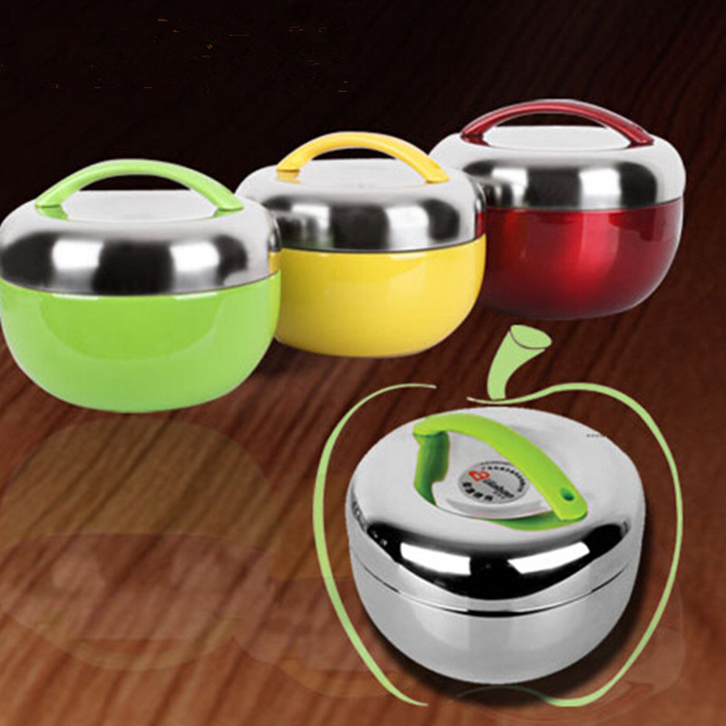 Double Wall Stainless Steel apple Lunch Box 2 Tier Locking Lid Dinner Bucket Food Container Insulation 1000ML/ 1300ML(China (Mainland))
