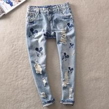 Hot sale Mickeying  embroidery Patchwork hole jeans loose thin harem pants Fashion Nine points jeans Vintage Girls Denim Pants