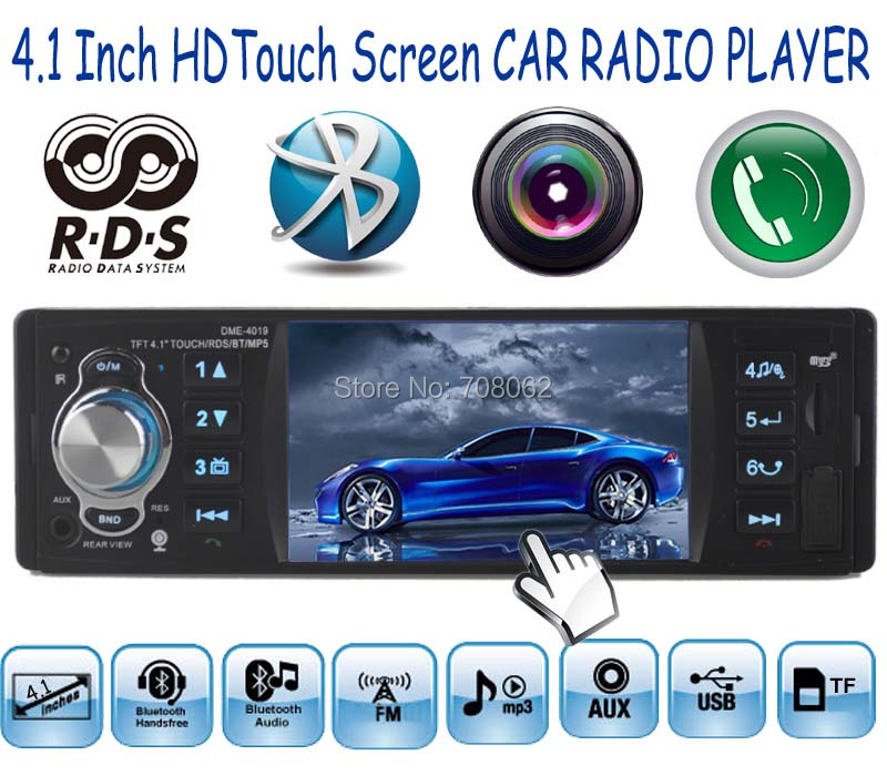 new 4.1'' inch HD Touch TFT screen Car radio player MP3 MP4 MP5 Support Rear view Camera Audio video RDS/FM/USB/TF/12V(China (Mainland))