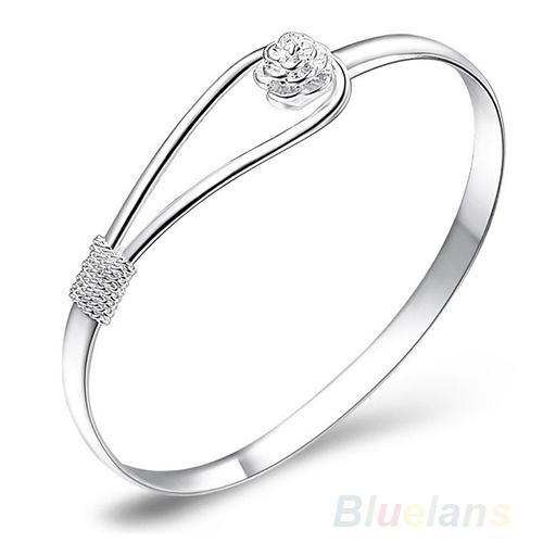 New Fashion jewelry Silver Simple Circle Flower Rose Cuff Bangle Bracelet   1NF3(China (Mainland))