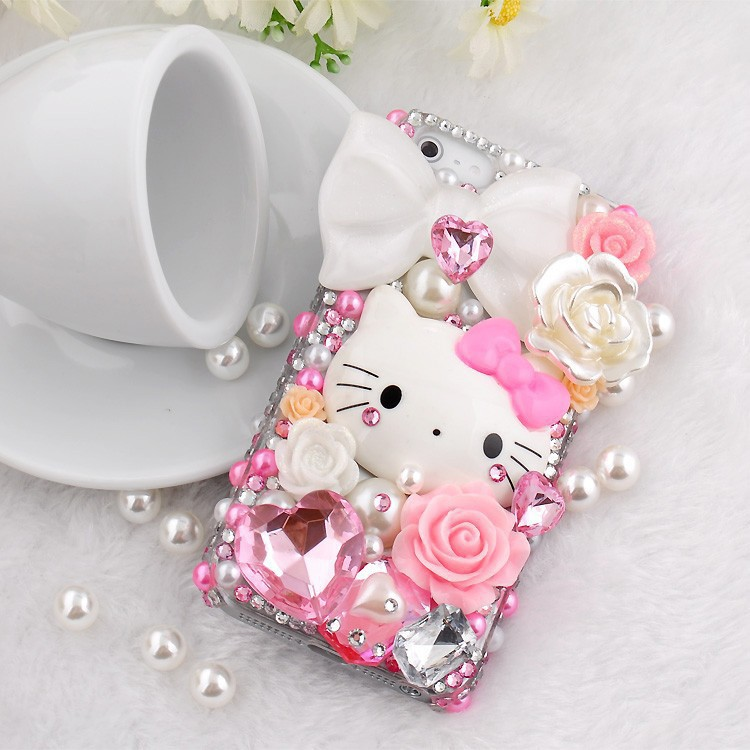 i6 / 6 plus cell phones cute hello kitty 3D Case Cover Crystal Rhinestone bling for galaxy s3 s4 s5 note 2/3/4 phone 6 6plus(China (Mainland))