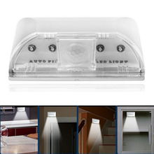 New 4 LED Light Spot PIR Auto Wireless Keyhole Sensor Motion Detector Lamp Night light Free Shipping & Wholesale(China (Mainland))